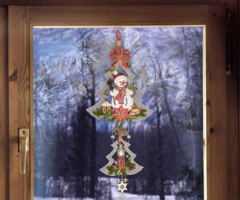 Girlande Fensterbild 3 Engel in rot Winter-Fensterdekoration aus Plauener Spitze