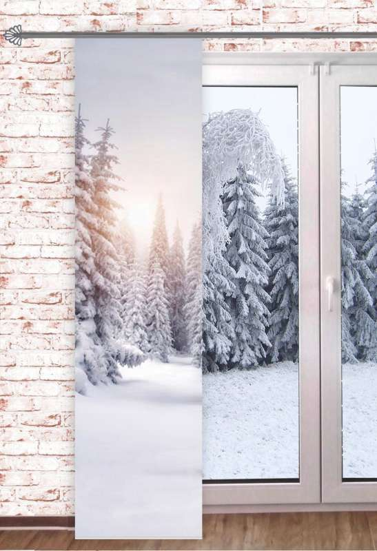 Schiebevorhang WINTERWALD 60x245cm Digitaldruck Wintergardine Raumteiler Schaufensterdeko Winter