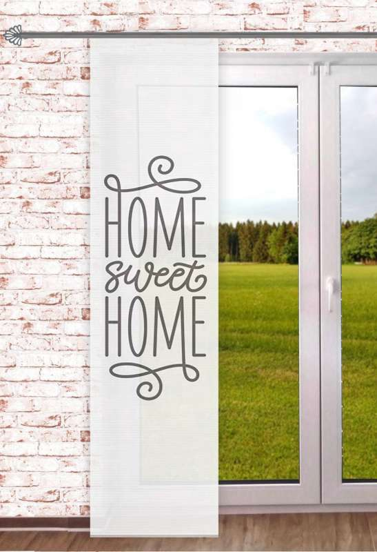 halbtransparenter Schiebevorhang Home sweet Home 60x245cm