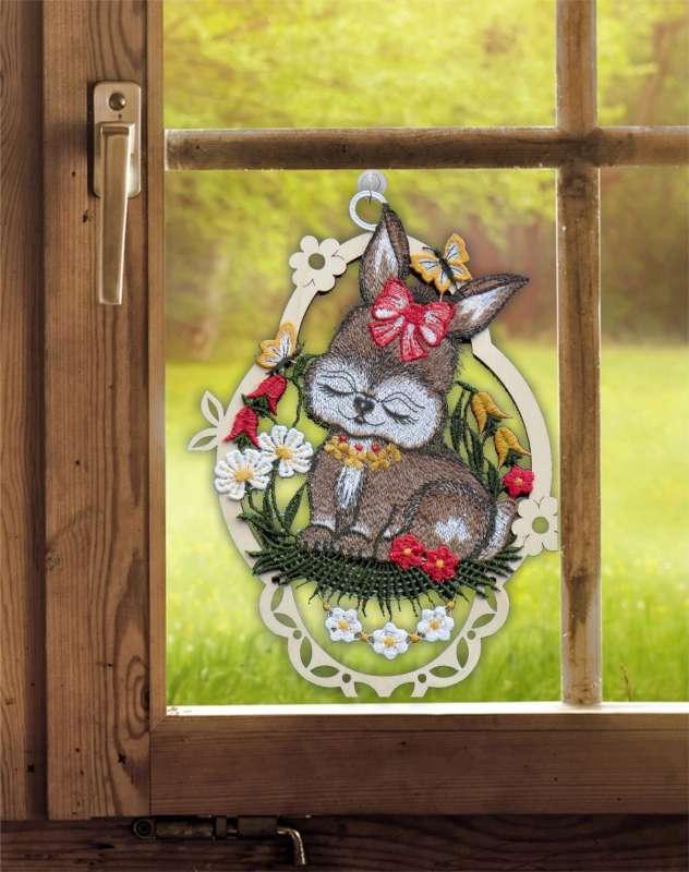 Fensterbilder 3er Set Lustige Osterhasen Plauener Spitze mit Saughaken Osterzeit
