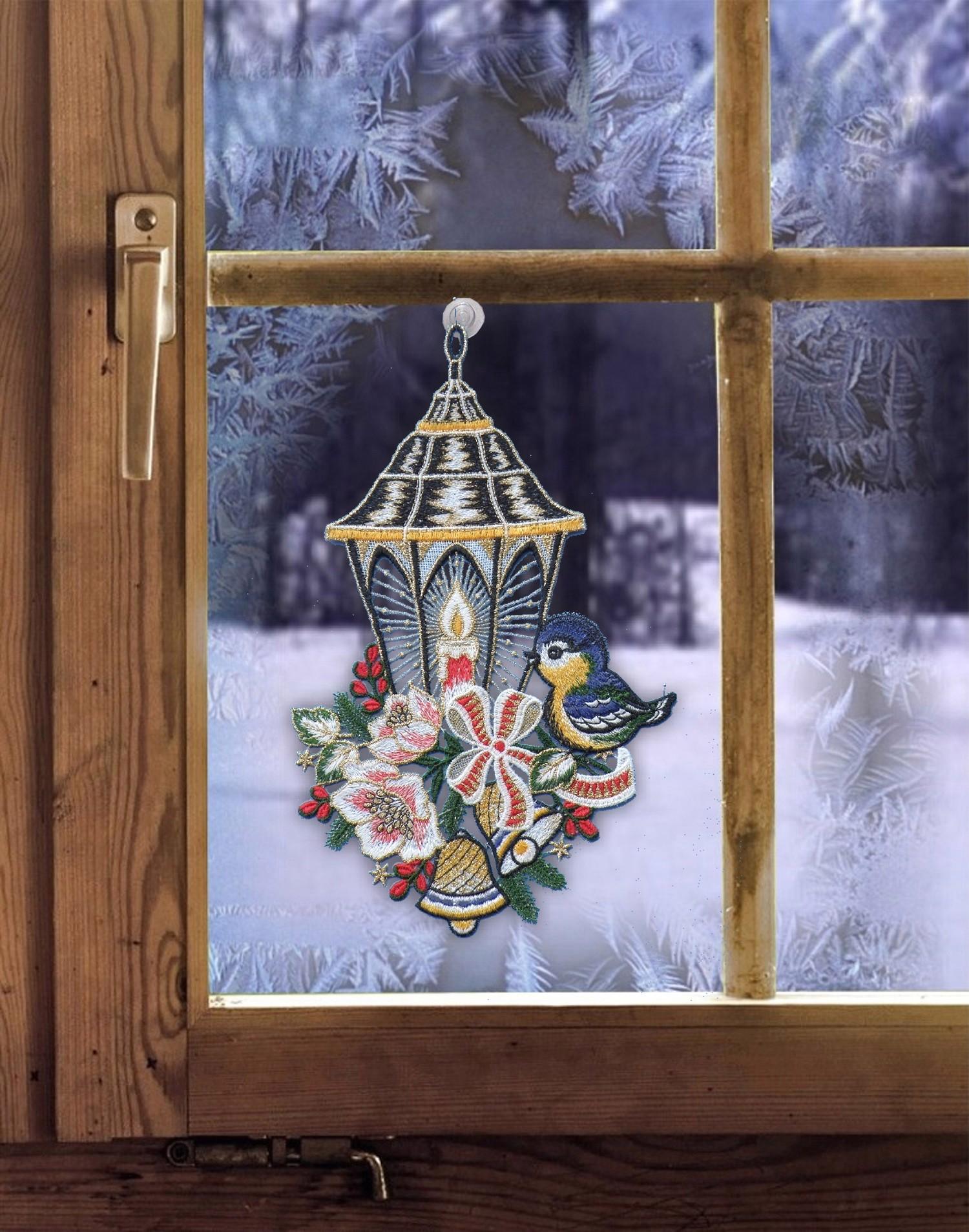 Tiere Fensterbild VOGEL AUF LATERNE Winter Plauener Spitze
