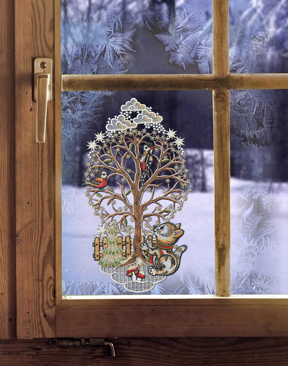 """Saughaken 32,5 x 19 cm Fensterbild Winter /""""Winterbaum mit Kätzchen gold/""""  inkl"""