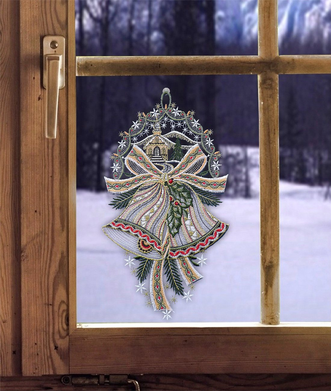 Weihnachtsdeko Gardinen.Fensterbild Weihnachtsglocken 19 X 31 Cm Weihnachtsdeko Fensterdeko