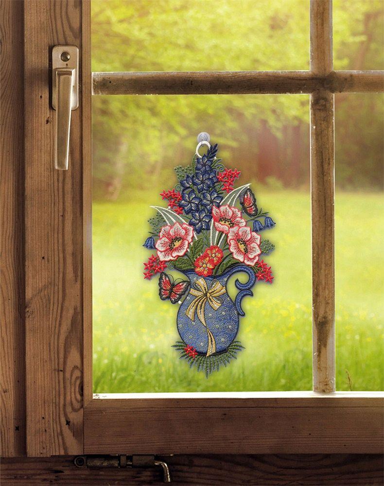 PLAUENER SPITZE ® Fensterbild BLUMENSTRAUSS Fensterdekoration BLUMEN Deko SOMMER