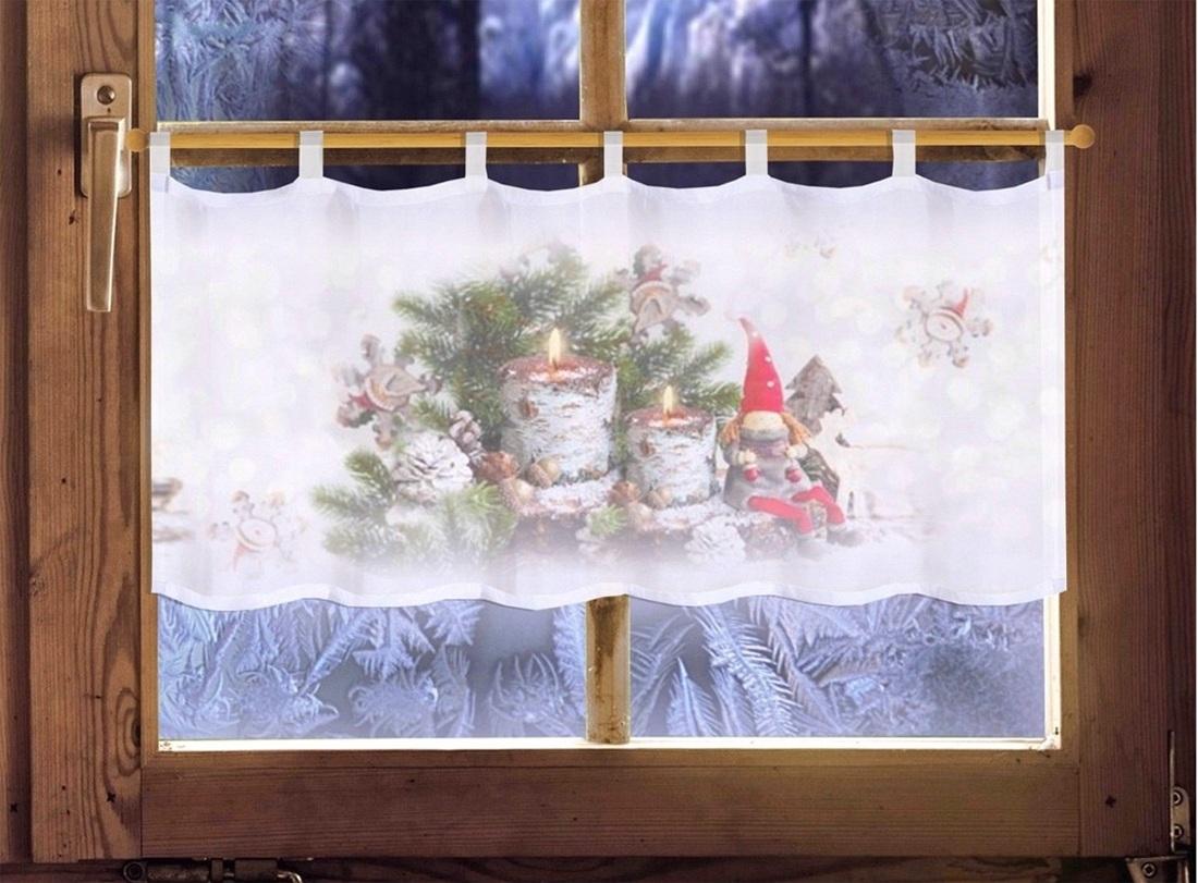 Weihnachtsdeko Gardinen.Gardinen Welt Online Shop Scheibengardine Wichtel 45 X 120cm