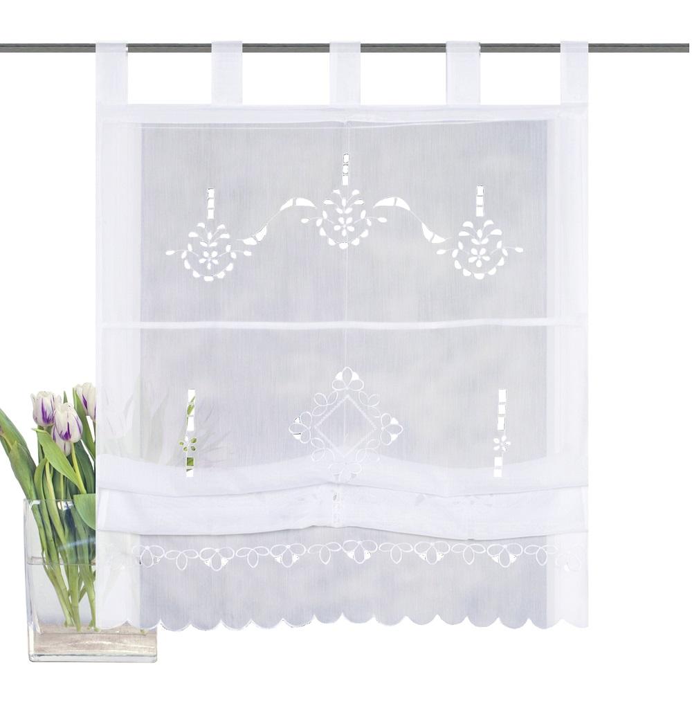 gardinen welt online shop wei es raffrollo schlaufenrollo mit dezenter stickerei im. Black Bedroom Furniture Sets. Home Design Ideas