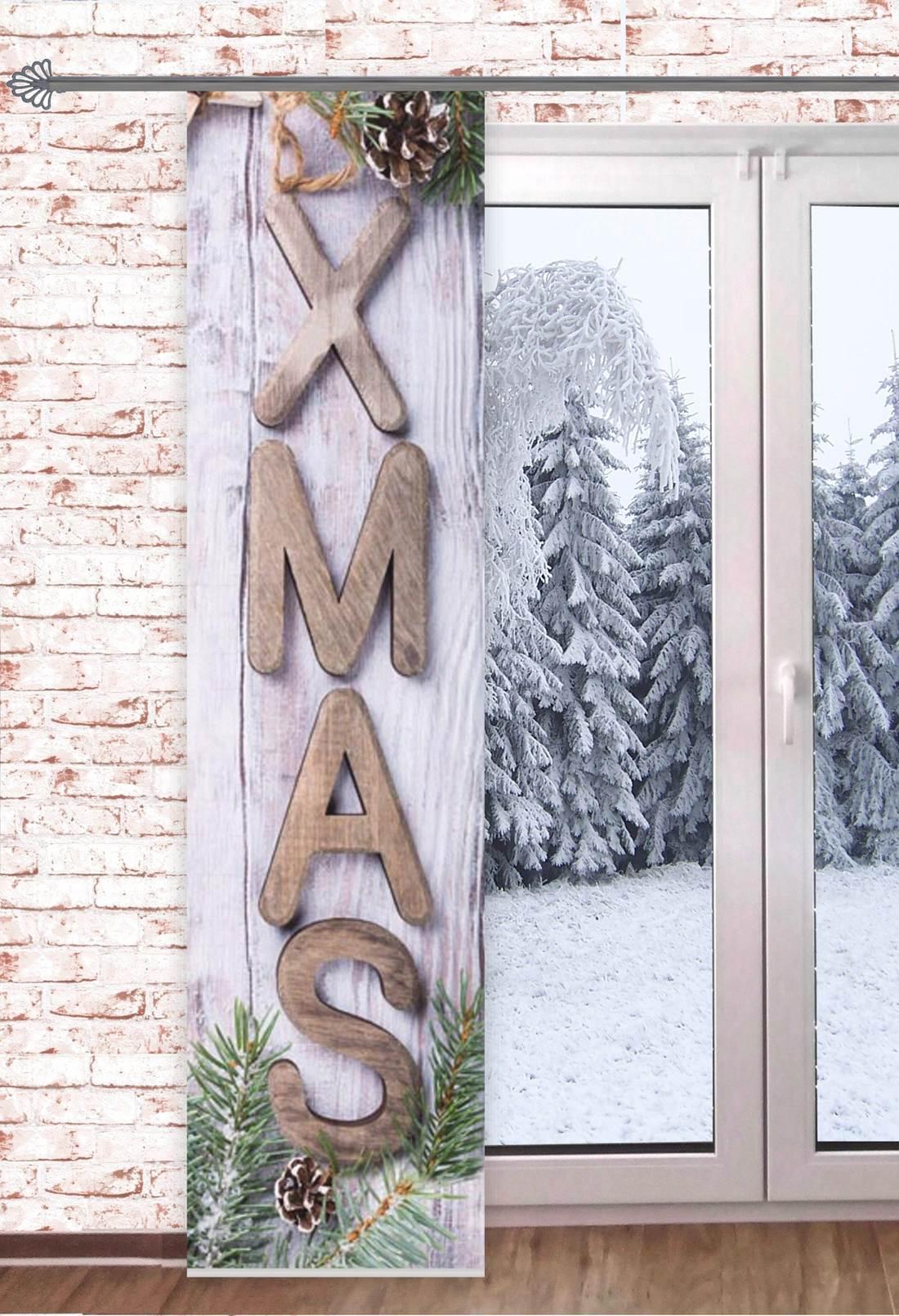 Gardinen Weihnachten.Gardinen Welt Online Shop Schiebevorhang Merry Xmas 60x245cm