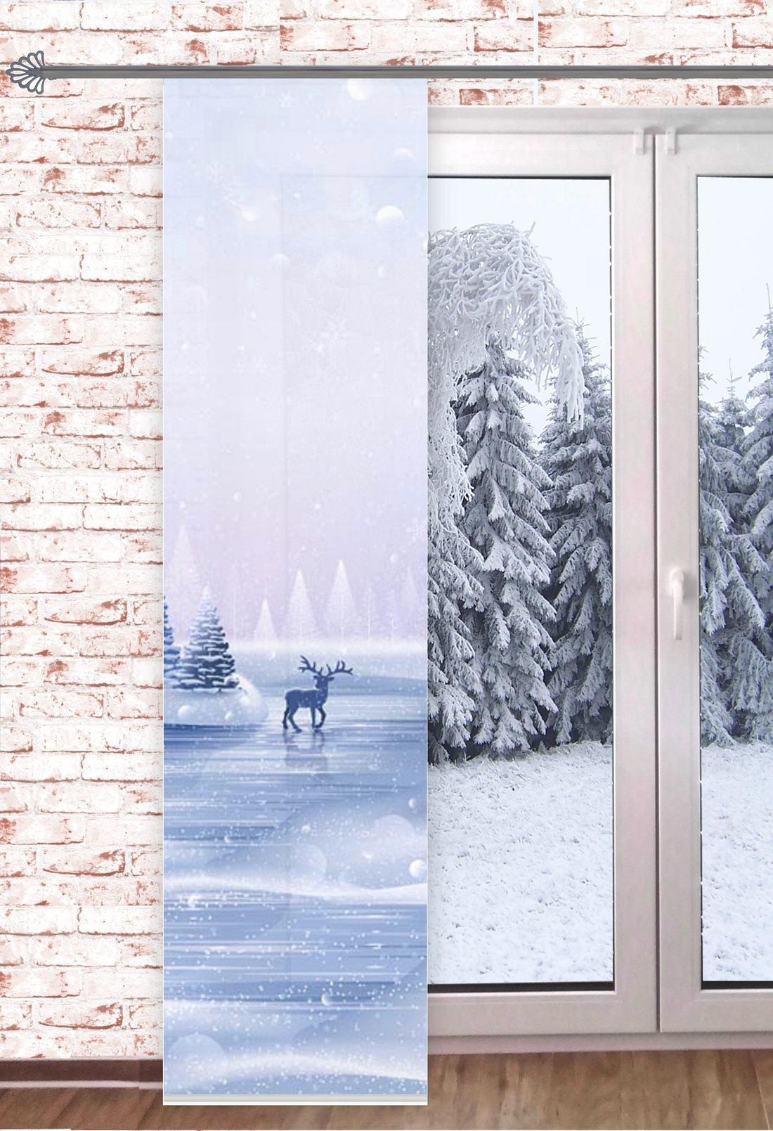 Gardinen Weihnachten.Gardinen Welt Online Shop Schiebegardine Rentier Im Winterwald