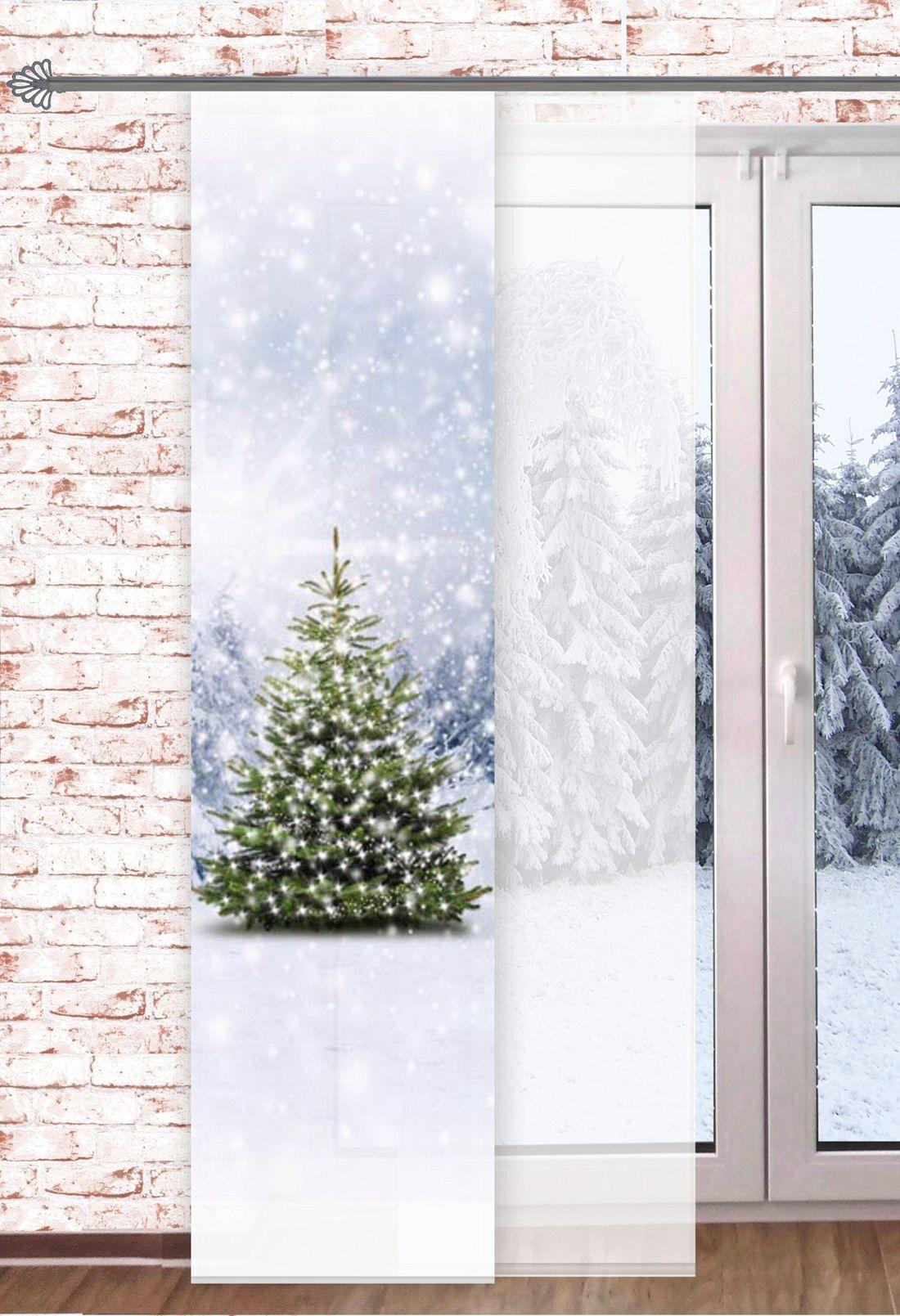 fl chenvorhang tannenbaum 60x245cm digitaldruck weihnachtsvorhang raumteiler schaufensterdeko. Black Bedroom Furniture Sets. Home Design Ideas