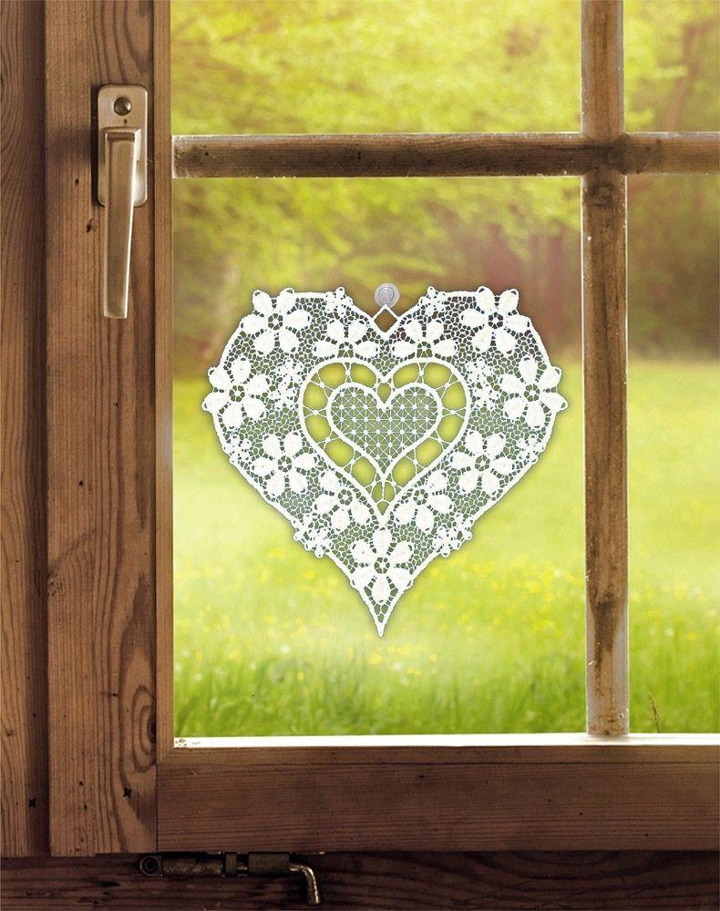 Fensterbild Aus Plauener Spitze HERZ Vintage, Landhaus 17 X 17cm