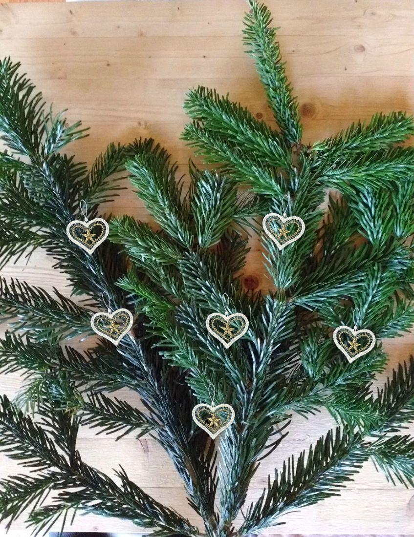 Weihnachtsdeko Gardinen.Gardinen Welt Online Shop Christbaumschmuck 6er Set Herzen Weiß