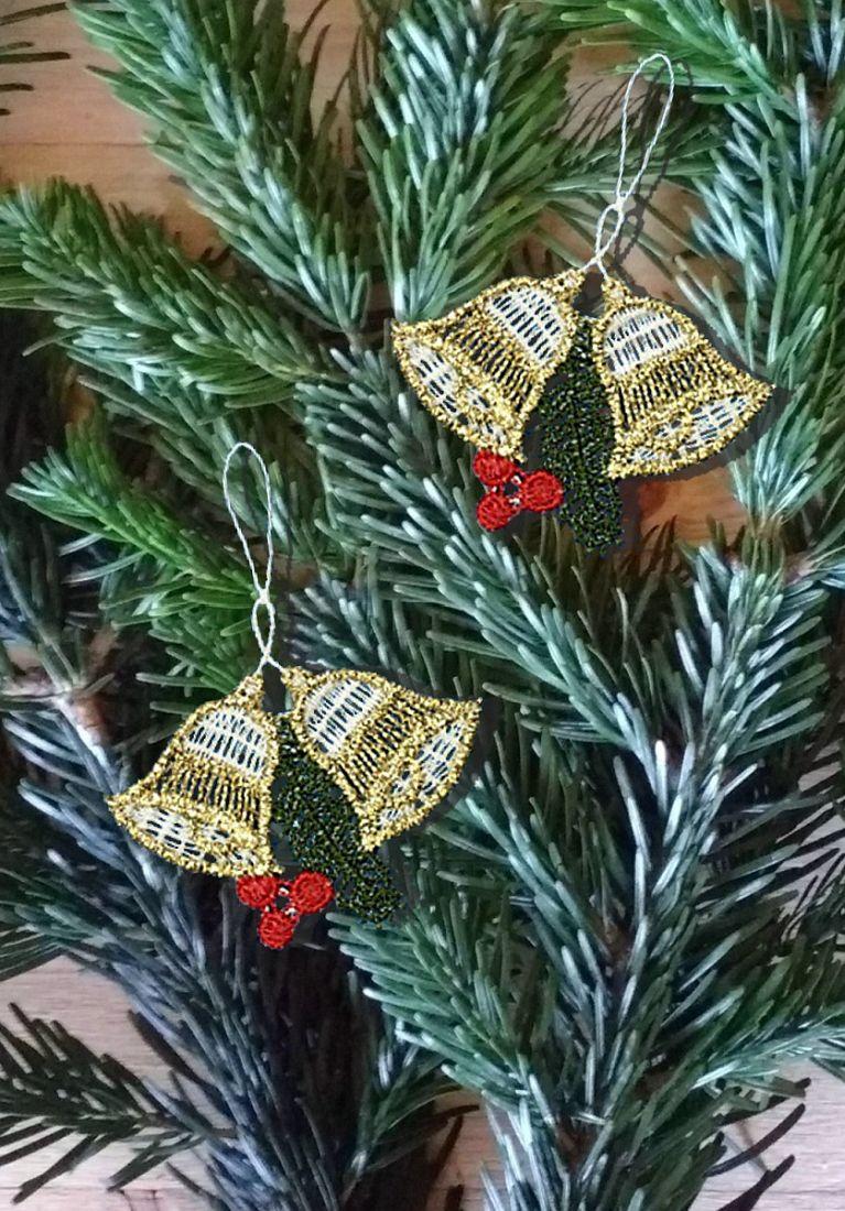 gardinen welt online shop christbaumschmuck 6er set weihnachtsgl ckchen aus plauener spitze. Black Bedroom Furniture Sets. Home Design Ideas