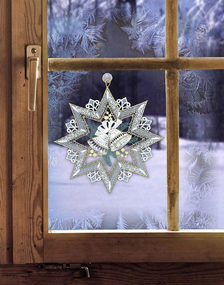 gardinen welt online shop fensterbild mit weihnachtsmotiv stern aus plauener spitze. Black Bedroom Furniture Sets. Home Design Ideas