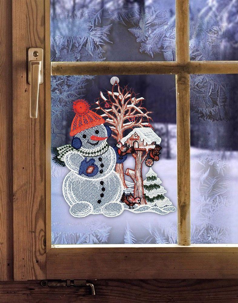 gardinen welt online shop fensterbild mit wintermotiv schneemann aus plauener spitze. Black Bedroom Furniture Sets. Home Design Ideas