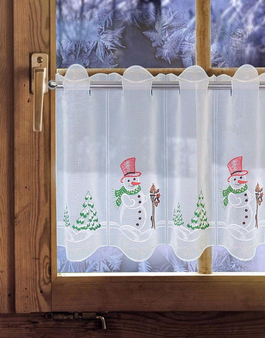 scheibengardine weihnachtsgardine schneemann in 2 h hen. Black Bedroom Furniture Sets. Home Design Ideas