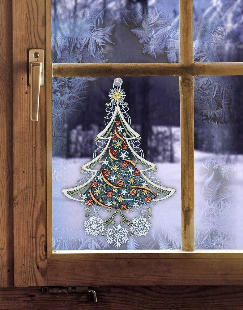 gardinen welt online shop fensterbild mit weihnachtsmotiv engel aus plauener spitze. Black Bedroom Furniture Sets. Home Design Ideas