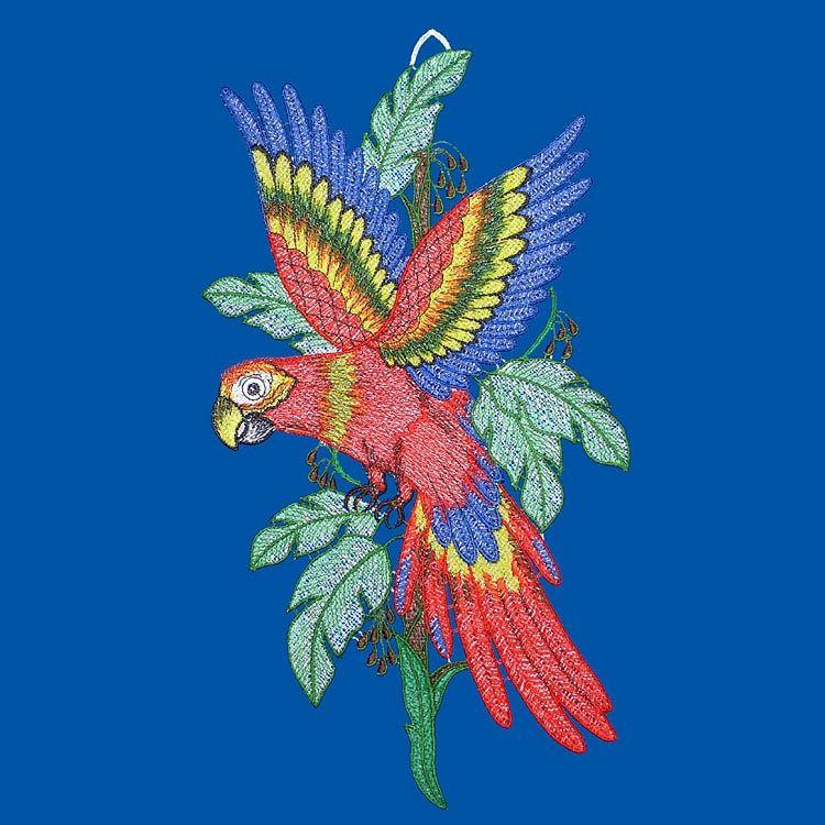 Gardinen welt online shop fensterbild papagei aus - Plauener spitze fensterbild ...