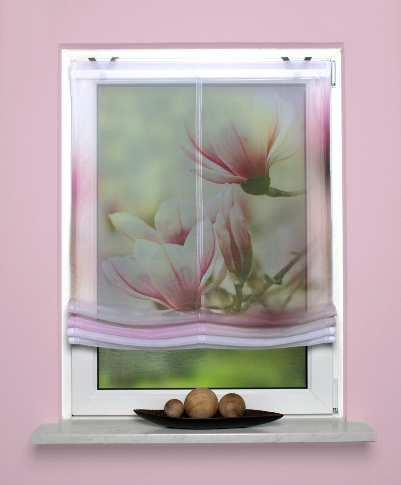 gardinen welt online shop raffrollo mit digitaldruck motiv magnolie. Black Bedroom Furniture Sets. Home Design Ideas