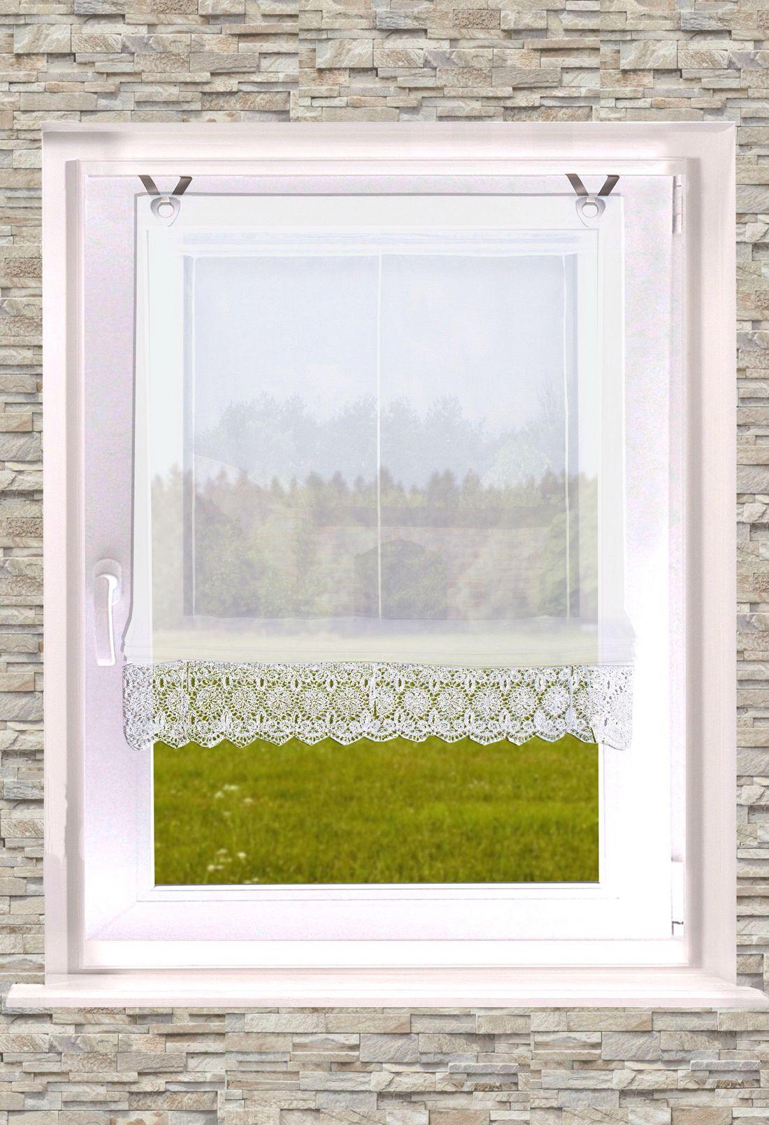 gardinen welt online shop raffrollo mit sen senrollo zoe mit spitzenborte 45cm 60cm. Black Bedroom Furniture Sets. Home Design Ideas