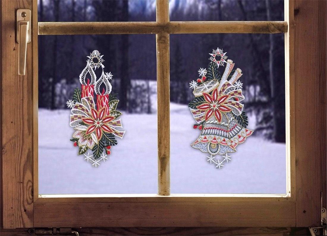 PLAUENER SPITZE ® Fensterbild WEIHNACHTEN Fensterdekoration 2er STERNE Winter