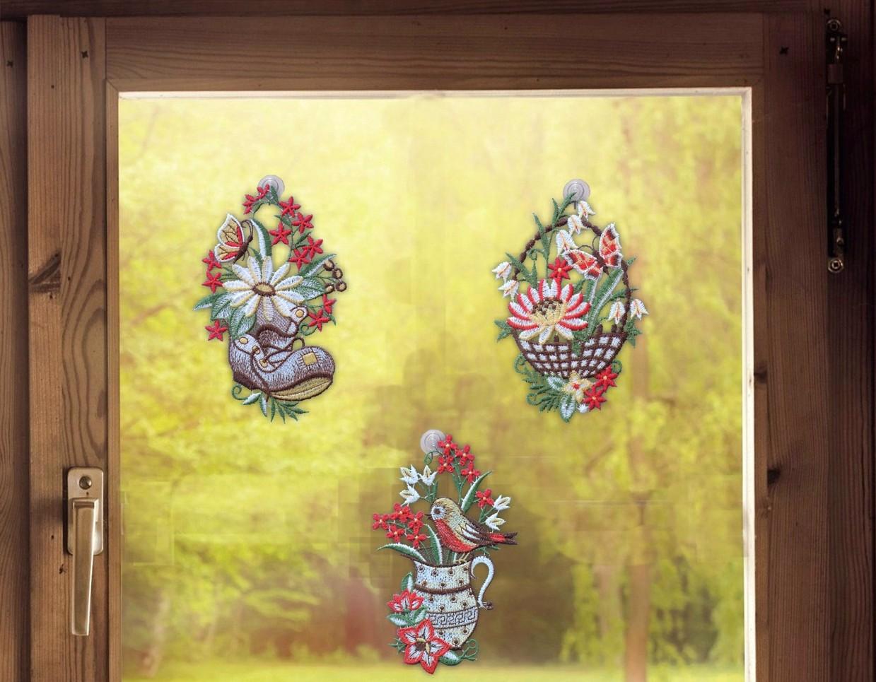 Gardinen Welt line Shop Fensterbilder 3er Set Gartenzeit