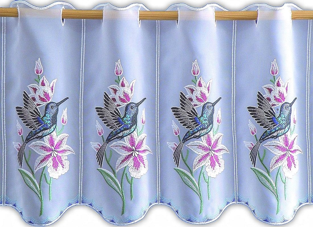 Stickereigardine Kurzgardine Scheibengardine Kolibri Plauener Spitze in 2 Höhen