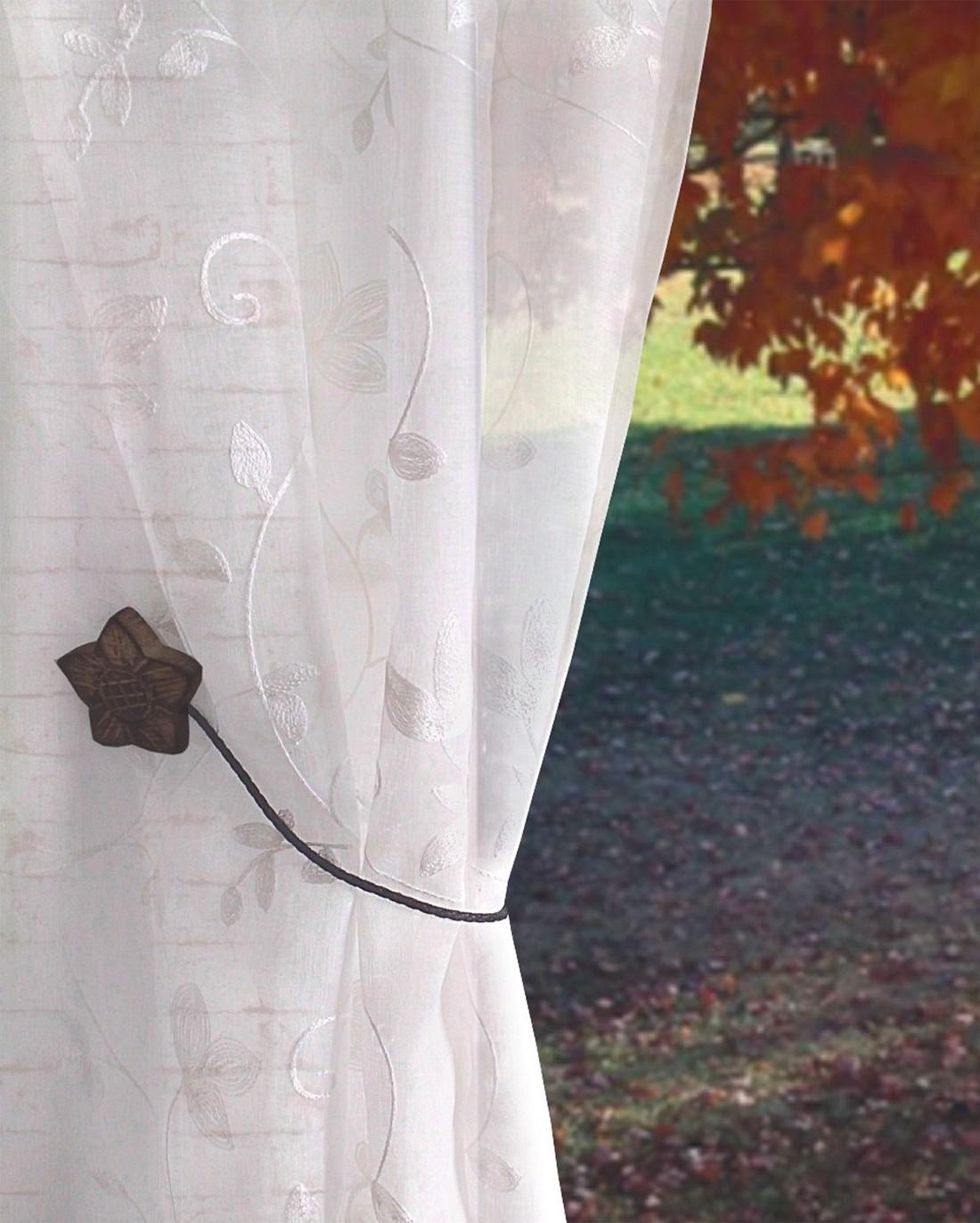 gardinen welt online shop raffhalter dekomagnet bl te holzfarben zum raffen f r stoffe. Black Bedroom Furniture Sets. Home Design Ideas