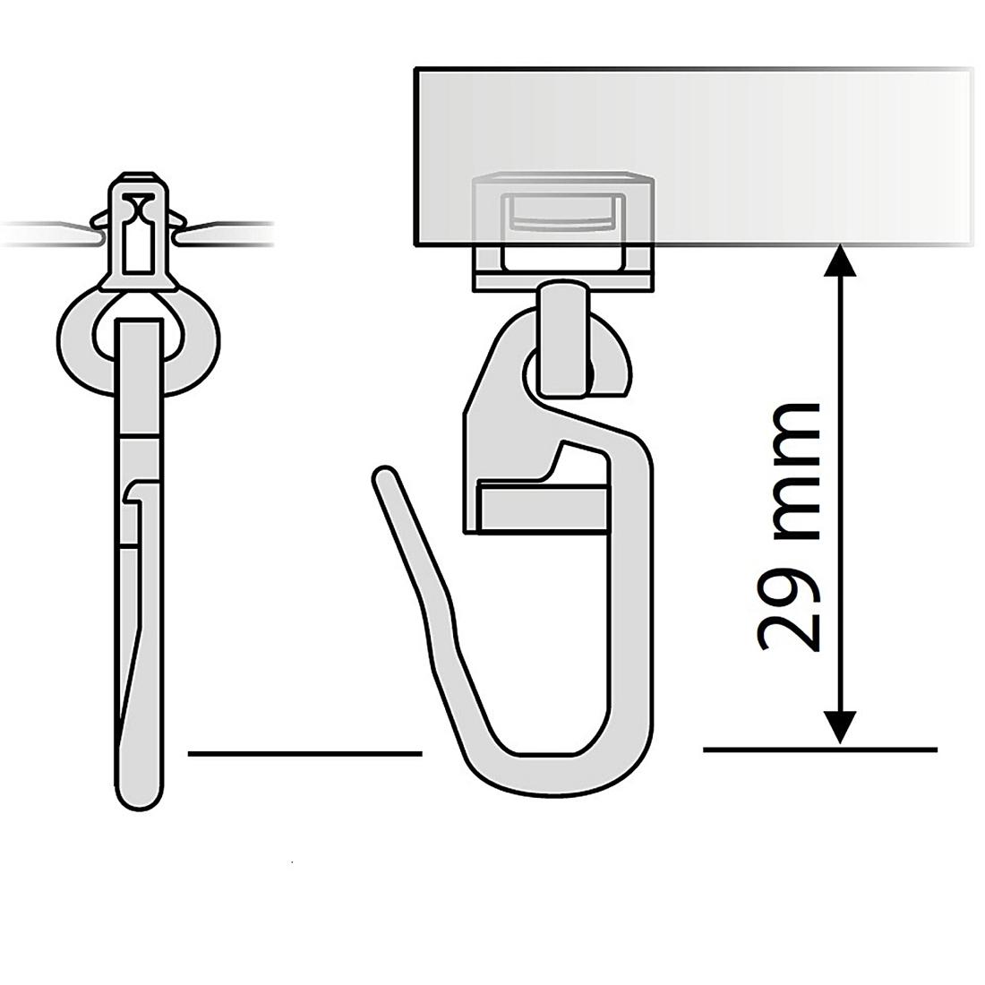 gardinen clic gleiter mit faltenhaken lang hinno hc 72 f r aluminium gardinenschienen mit 4 mm. Black Bedroom Furniture Sets. Home Design Ideas