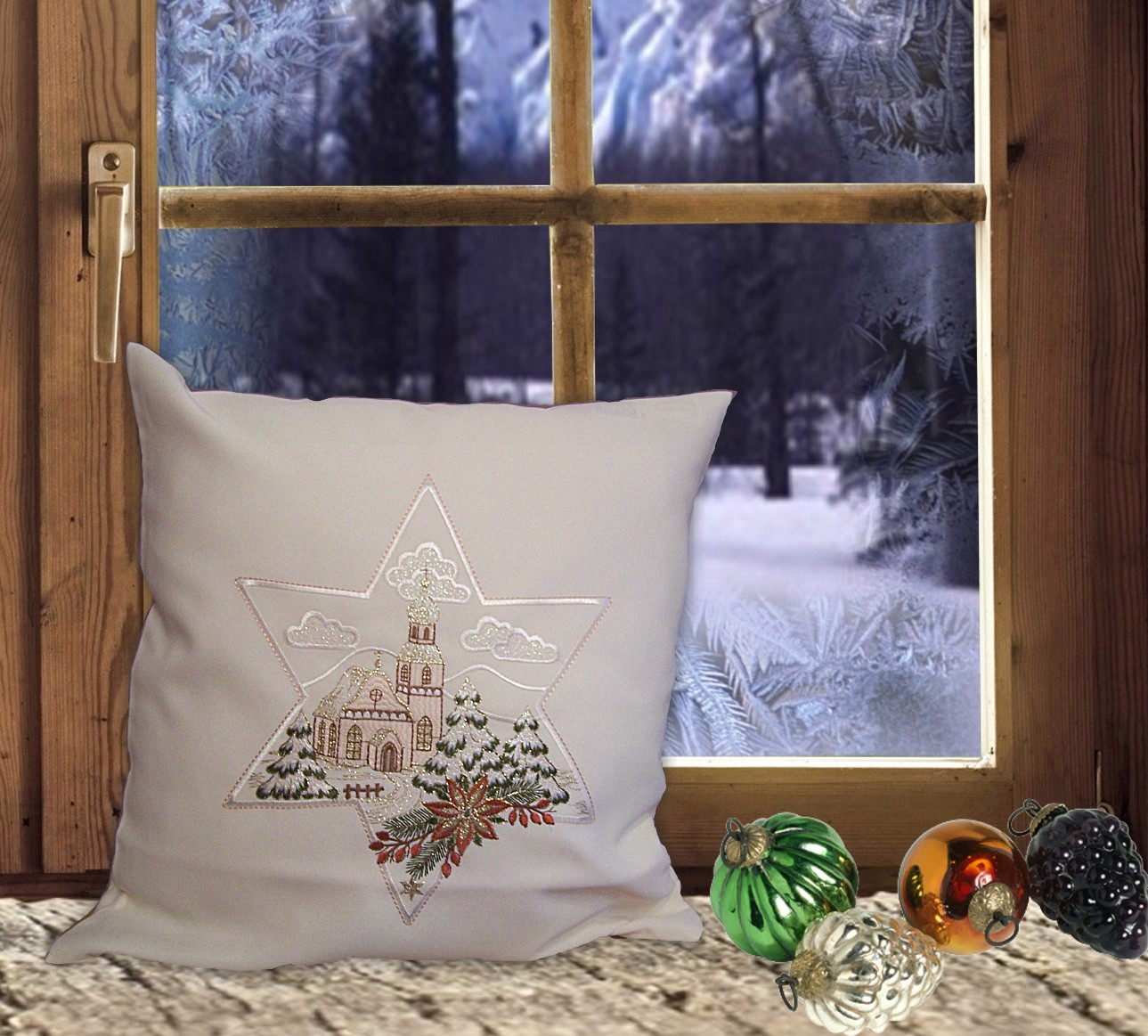 gardinen welt online shop kissenh lle kirche 40 x 40 cm weihnachtsdeko. Black Bedroom Furniture Sets. Home Design Ideas