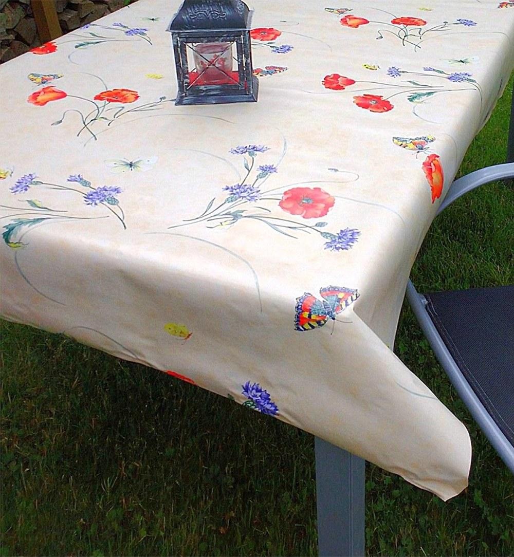 Outdoor tischdecke mohnblume wachstuchdecke abwaschbar - Tischdecke outdoor ...