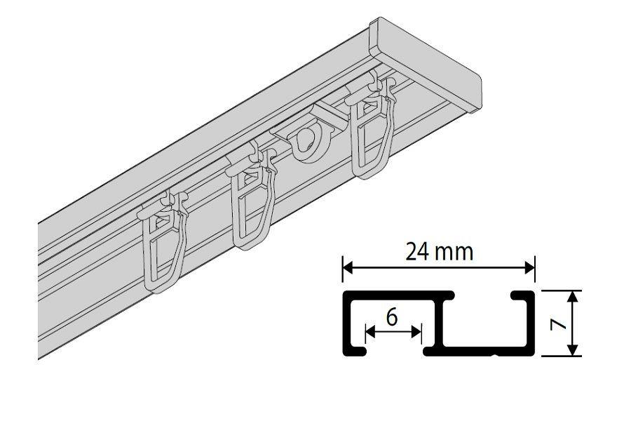 flache aluminium gardinenschienen und vorhangschienen auf gardinen gardinen welt. Black Bedroom Furniture Sets. Home Design Ideas