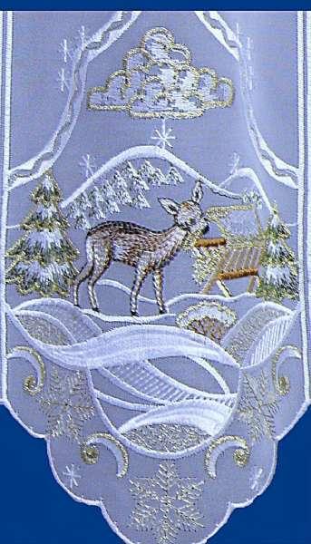 kurzgardine weihnachtsgardine winterwald spitzengardine in 2 h hen aus plauener spitze. Black Bedroom Furniture Sets. Home Design Ideas