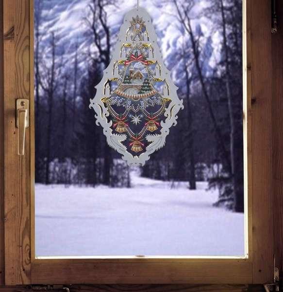 fensterbild beleuchtet kirche aus plauener spitze und holz weihnachtsfensterbild. Black Bedroom Furniture Sets. Home Design Ideas